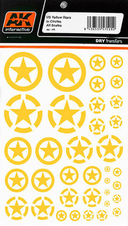 US YELLOW STARS IN CIRCLES ALL SCALES DRY TRANSFER AK INTERACTIVE