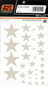 US WHITE STARS ALL SCALES DRY TRANSFER AK INTERACTIVE