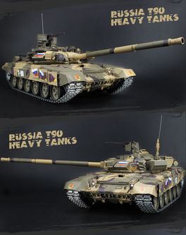 TANQUE RC T-90 PRO SONIDOS, HUMO, DISPARA 1/16 HENG LONG