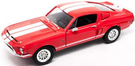 MUSTANG SHELBY GT500KR 1968 ROJO 1/18 METAL ROAD SIGNATURE